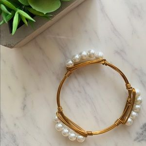 Pearl Wire Wrapped Bangle Bracelet